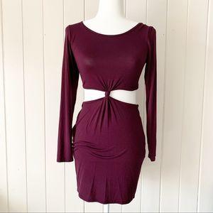 Boohoo Burgundy Tasha Knot Dress Sz 4 NWT